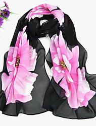 Women's Chiffon Sun Flower Print Scarf,Black/Purple/Fushcia/Blue/Beige