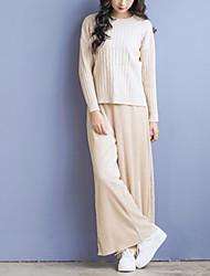 Damen Standard Pullover-Lässig/Alltäglich Street Schick Solide Beige / Grau / Grün Rundhalsausschnitt Langarm Acryl Herbst Mittel
