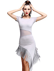 Latin Dance Dresses Women's Training Milk Fiber Lace / Tassel(s) 1 Piece Latin Dance Short Sleeve High Dress