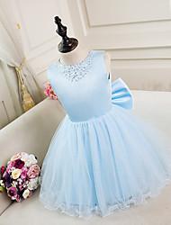 A-line Knee-length Flower Girl Dress - Satin Sleeveless Jewel with Beading / Bow(s)