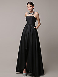 2017 Formal Evening Dress A-line Jewel Asymmetrical Satin with Beading