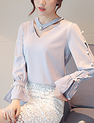 Women's New Fashion Chiffon V Collar Mandarin Sleeve Blouses
