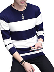 2016 new autumn and winter sweater Mens Long Sleeve stripe trend of Korean
