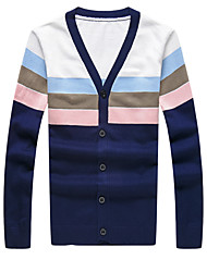 Men's Casual Slim V-Neck Striped Cardigan,Cotton / Polyester Long Sleeve Blue / Red