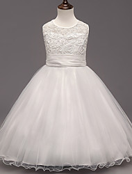 A-line Tea-length Flower Girl Dress - Satin / Tulle / Polyester Sleeveless Jewel with Appliques / Sash / Ribbon