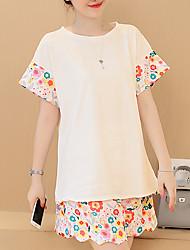 Gravidez Camiseta Calça Suits Informal / Casual Simples / Activo Verão,Estampado Branco Algodão / Linho Decote Redondo Manga Curta Média