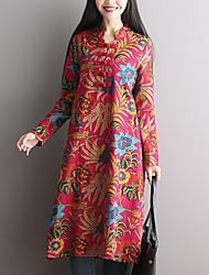 Ample Robe Aux femmes Décontracté / Quotidien Chinoiserie,Fleur Mao Midi Manches Longues Rouge Coton / Lin Automne