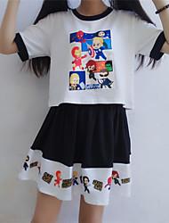 Damen Druck Einfach / Niedlich Ausgehen / Lässig/Alltäglich T-shirt Rock,Rundhalsausschnitt Sommer Kurzarm Weiß / Schwarz Andere Mittel