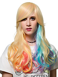 Color gradient long curly hair, Europe and the United States fashion wig.