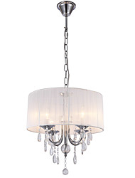 White Brushed Drum Fabric Crystal Chandelier
