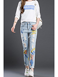 Women's Patchwork Blue Jeans / Straight Pants,Simple