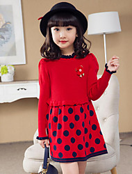 Girl's Going out Polka Dot Dress / Sweater & Cardigan,Others Spring / Fall Black / Pink / Red