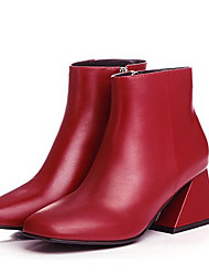 Feminino Botas Pele Napa Inverno Social Salto Grosso Preto Vermelho Rosa claro 5 a 7 cm