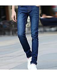 Men's Solid Plus Size Jeans,Cotton Blue
