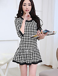 Women's Going out Street chic A Line Dress,Houndstooth Round Neck Above Knee ¾ Sleeve White Polyester Fall