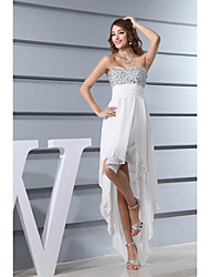 Cocktail Party Dress Sheath / Column Sweetheart Asymmetrical Chiffon with Beading