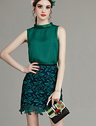 MIUCO  Casual/Daily Simple Summer Set,Floral Stand Sleeveless Green Polyester Thin