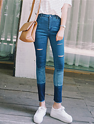 Women's Jeans Pants,Casual/Daily Simple Color Block Cotton Micro-elastic All Seasons