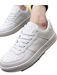Unisex Flats Fall PU Casual Flat Heel Lace-up White