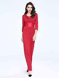 Women's Party/Cocktail Sexy Shift Dress,Solid Round Neck Maxi ¾ Sleeve Blue / Red Cotton Fall