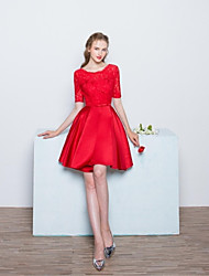Knee-length Lace / Satin Bridesmaid Dress - Ball Gown Scoop with Bow(s) / Lace