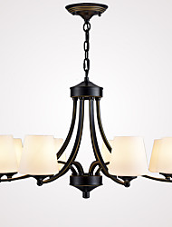 8 Heads Retro Glass Chandelier Living Room Restaurant Pendant Light