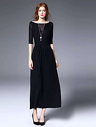 JOJ  Women's Party/Cocktail Sophisticated Sheath DressSolid Boat Neck Maxi Length Sleeve Black Cotton