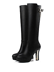 Women's Boots Fall / Winter Snow Boots PU / Leatherette Dress / Casual Chunky Heel Zipper Black Snow Boots