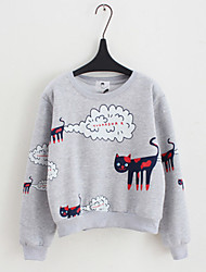 Women's Casual/Daily Cute Short Hoodies,Print Pink / White / Gray Round Neck Long Sleeve Others Spring