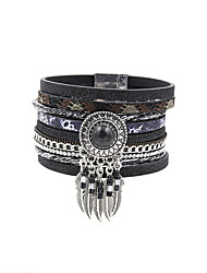 Fashion Women Multi Rows Stone Set Dream Catcher Drop Learher Bracelet Christmas Gifts