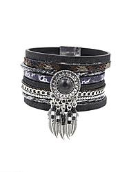 Fashion Women Multi Rows Stone Set Dream Catcher Drop Learher Bracelet