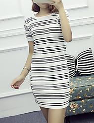 Mulheres Bandagem Vestido,Casual Moda de Rua Listrado Decote Redondo Mini Manga Curta Branco / Preto Algodão Verão