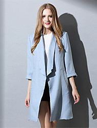 Plus Size Women's Simple Casual Fashion Loose 3/4 Sleeve Long Coat Jacket Trench Coat