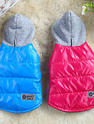 Dog Coat Hoodie Red Blue Dog Clothes Winter Spring/Fall Solid Casual/Daily Keep Warm