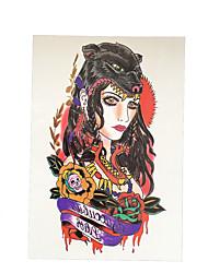 1pc Wolf Beauty Girl Rose Flower Arm Tattoo Women Men Body Art Temporary Tattoo Paste Paper Sticker HB-011