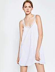 Damen Lose Kleid-Lässig/Alltäglich Einfach Stickerei Gurt Übers Knie Ärmellos Weiß / Gelb Baumwolle Sommer Mittlere Hüfthöhe