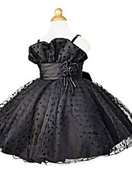 Ball Gown Knee-length Flower Girl Dress - Lace Sleeveless Straps with Bow(s) / Flower(s) / Lace / Sash