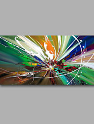 "Stretched (Ready to hang) Hand-Painted Oil Painting 40""x20"" Canvas Wall Art Modern Abstract Green Blue White"