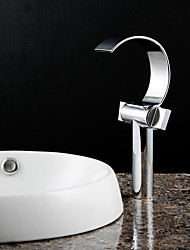 Contemporary Tub And Shower Waterfall with  Ceramic Valve Single Handle One Hole for  Chrome  / Bathtub Faucet