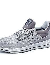 Femme-Sport-Noir / Gris-Talon Plat-Confort-Sneakers-Tulle