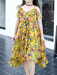 Girl's Casual/Daily Floral DressPolyester Summer Blue / Yellow