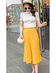 Women's Solid Gray / Yellow Wide Leg Pants,Simple / Cute