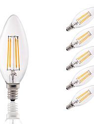 3.5 E12 LED лампы накаливания B 4 COB 350 lm Тёплый белый Регулируемая / Декоративная AC 110-130 V 6 шт.