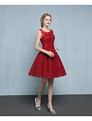 2017 Cocktail Party Dress-Burgundy A-line V-neck Short/Mini Lace / Tulle