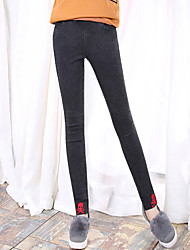 Women's Stretchy Bodycon Thin Skull Print Black Long Skinny Pants,Punk & Gothic