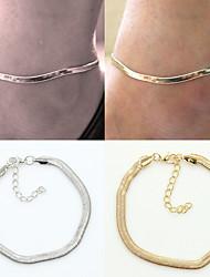 Femme Bracelet de cheville/Bracelet Plaqué argent Alliage Mode Simple Style Serpent Argent Doré Aux femmes BijouxQuotidien Décontracté