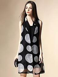 ANGEL  Women's Casual/Daily Street chic Summer Blazer,Polka Dot Shirt Collar Sleeveless Black Silk Medium