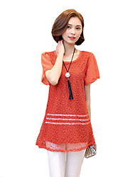 Women's Casual/Daily Street chic Summer Blouse,Solid Round Neck Short Sleeve Black / Brown / Orange Polyester Thin