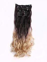 """Anjo 22 """"grampo ombre 130g em extensões do cabelo 7pcs em um conjunto de cores do arco-íris clipe sintético em pedaço de cabelo"""