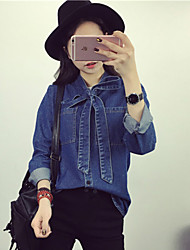 Women's Going out Street chic Fall Shirt,Solid Halter Long Sleeve Blue Cotton / Polyester Medium